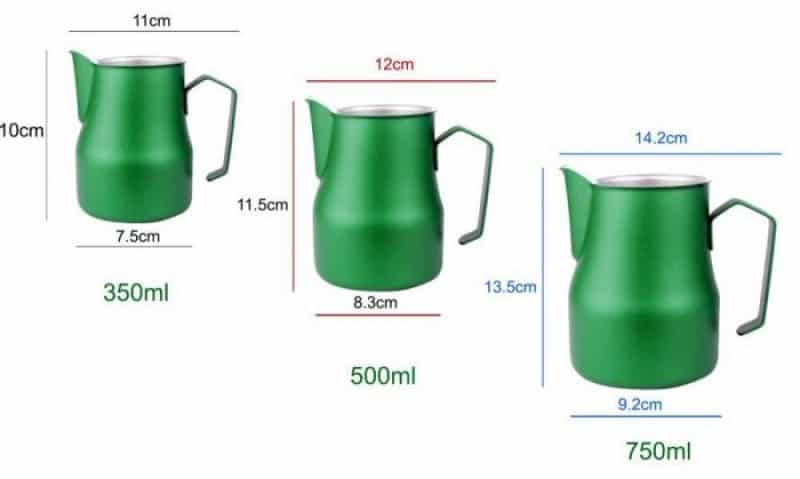 Milk pitcher sizes comparison